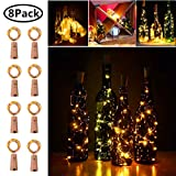 20 LED Wine Bottle Cork Lights Copper Wire String Lights, 2M/7.2FT Battery Operated Wine Bottle Fairy Lights Bottle DIY, Christmas, Wedding Party Décor (Warm White, 8 Pack) (Color: 8 Pack 20 LED Warm White)