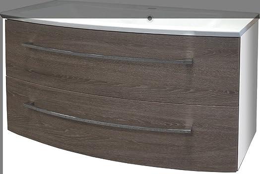 Fackelmann Rondo–Mobile sottolavello di, colore: bianco lucido/in legno di rovere Cognac/mobili da bagno