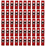 Yonger 50pcs Sewing Craft Quilt Binding Clips Clamps Clear , Paper Clips, Blinder Clips, Multi-purpose Clips (Red)