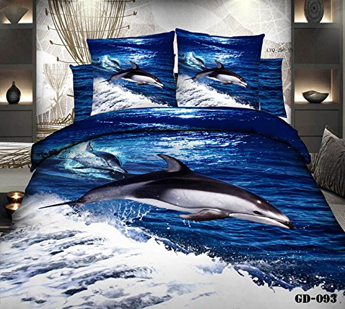 Queen King Size 100% Cotton 7-Pieces 3D White And Gray Dolphin Blue Ocean Sea Animal Prints Fitted Sheet Set With Rubber Around Duvet Cover Set/Bed Linens/Bed Sheet Sets/Bedclothes/Bedding Sets/Bed Sets/Bed Covers/ Comforters Sets Bed In A Bag (King) front-877232