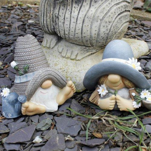 Mr & Mrs Summer Hat Garden Gnome Ornament In Resin
