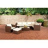 CLP 17 teiliges Poly-Rattan Lounge Set PARADISO, Aluminium-Gestell (5er Sofa + Sessel + Hocker + Tisch 110 x 60cm + 10 cm Polster / Kissen) braun-meliert