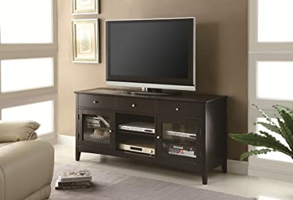 "Dark Espresso finish wood 28"" H TV stand entertainment center with storage drawers and built in connect it drawer"