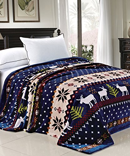 BNF Home Light Weighted Christmas Collection Printed Flannel Fleece Blanket Blue Christmas Deer (Queen)