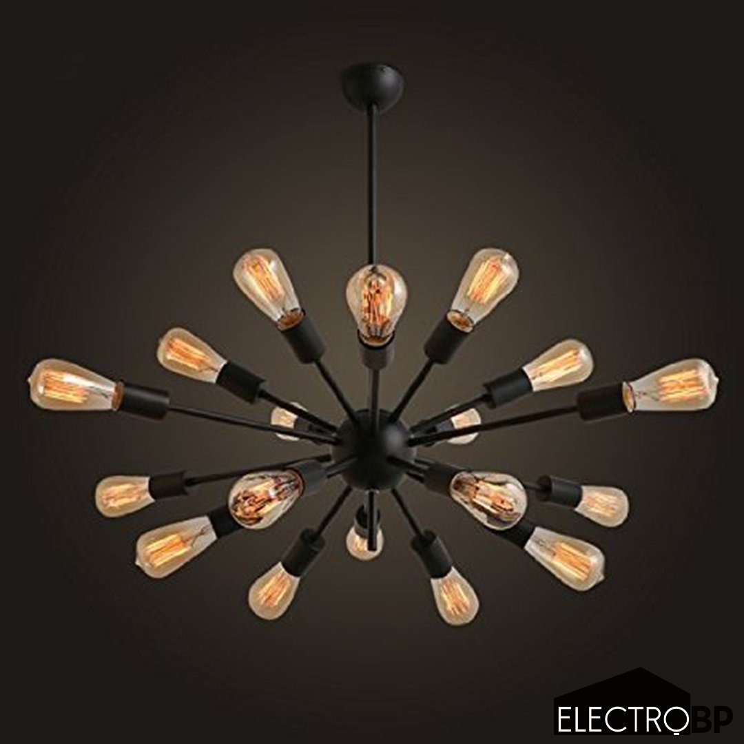 Electro_BP;Vintage Metal Large Chandelier With 18 Lights Painted Finish 0
