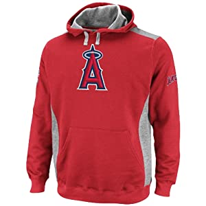 MLB Los Angeles Angels Catcher Athletic Red Steel Heather Long Sleeve Hooded Fleece... by Majestic