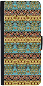 Snoogg Aztec Pattern Mustard Graphic Snap On Hard Back Leather + Pc Flip Cove...
