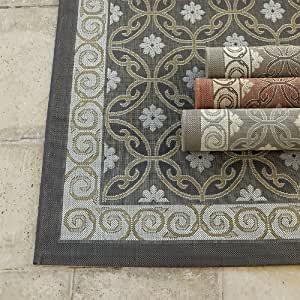 Ravello indoor outdoor rug terracotta 4 39 x for Ballard designs bathroom rugs