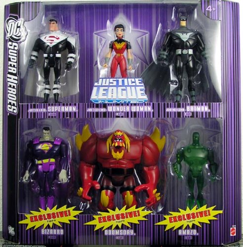 Buy Low Price Mattel DC Super Heroes: Justice League Unlimited Justice Lords Batman Wonder Woman Superman Bizarro Lava Doomsday and Green Amazo Action Figure Multi-Pack (B000UUGE00)