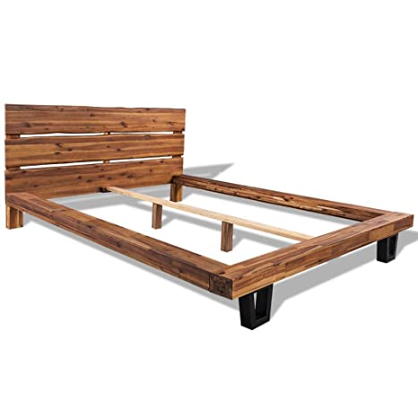vidaXL Massivholz Doppelbett Ehebett Bettrahmen Bettgestell Akazie 140x200 cm