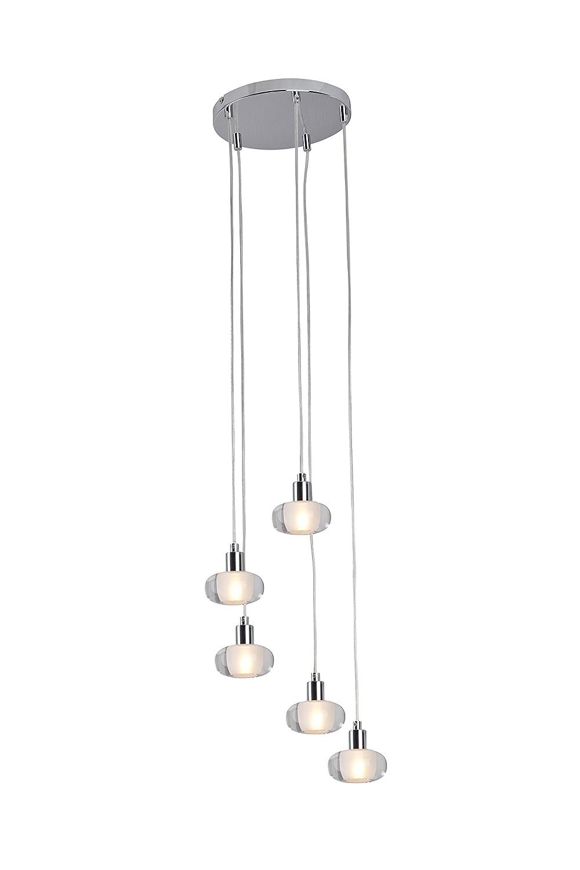Brilliant Isia Pendelleuchte, 5-flammig, G9, 5 x 28 W / 370 lm, 2800 K, Metall / Glas, chrom / transparent G09073 / 15