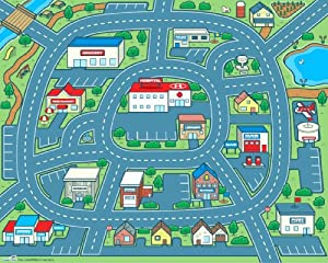 "Driving Around Town Rollable Play Mat 40"" x 50"" by Rocket Bug"