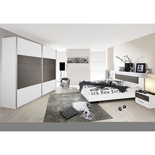 rauch Schlafzimmer Barcelona 4-tlg., weiß mit Absetzung lavagrau