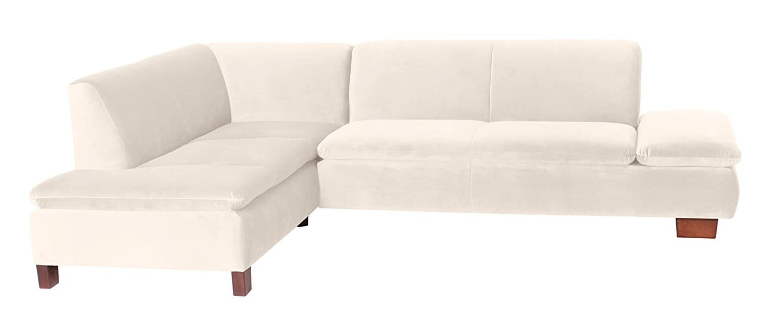Coolnezz 25372-264-2044215 Sofa Toni mit Ecke links, 190 x 273 x 75 cm, Samtvelour, creme