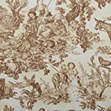 Brown Toile De Jouy 100 Heavy Cotton Panama Printed Childrens Curtain Cushion Upholstery Fabric Sold by the metre