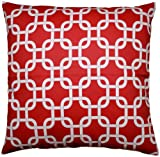 JinStyles Cotton Canvas Trellis Chain Accent Decorative Throw Pillow Cover (Red & White, Square, 1 Cover for 18 x 18 Inserts)