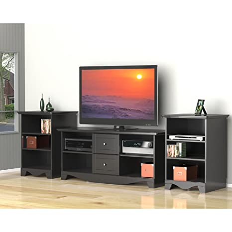 Transitional Black TV Stand Set with Two Audio Stands FMP25383