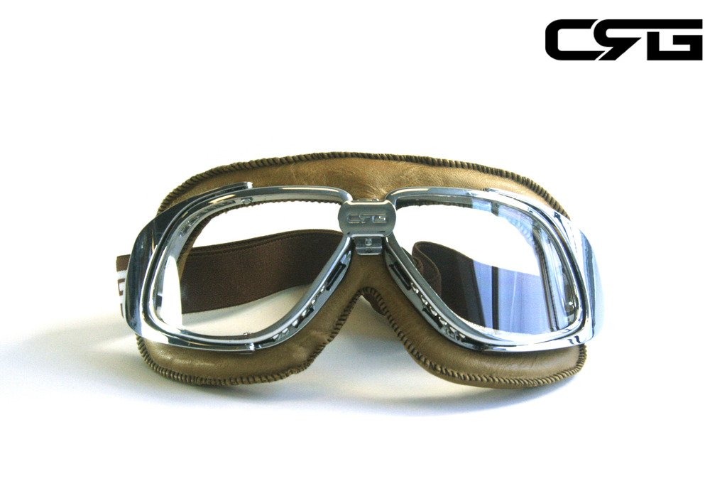 CRG Sports Vintage Aviator Pilot Style Motorcycle Cruiser Scooter Goggle T10 T10SCN-L Transparent lens, Silver frame, Light brown padding 0