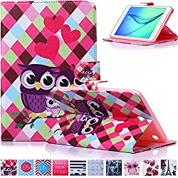 T350 Case,Galaxy Tab A 8.0 Case,Ucover(TM) Creative Cute Cartoon Quality PU Leather Magnet Closure Flip Stand Cover for Samsung Galaxy SM-T350 (Owl Family)