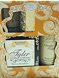 Tyler Candle Gift Set II - Limelight - 11oz Prestige Candle, 9oz Chambre Room Perfum, 2oz Votive Candle, Glass Votive Holder