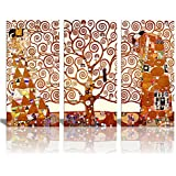 "Tree Of Life Canvas Print By Gustav Klimt|3 Panels Abstract Canvas Wall Art 24""x36"""