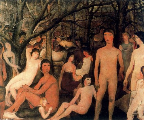 Oil Painting Hand Made - Paul Delvaux - 32 x 26 inches - Series characters naked in a forest