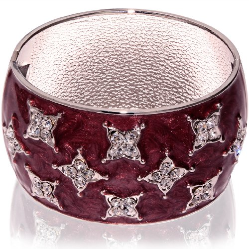 Hinged Bangle Bracelet-Maroon with clear CZ stones accent