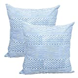 Store Indya Set of 2 Cushion Covers Hand Woven in Pure Cotton Printed Throw Pillow Case Home Sofa Decorative