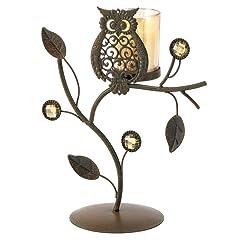 Gifts & Decor Wise Owl Ornamental Vine Leaf Votive Candleholder Stand