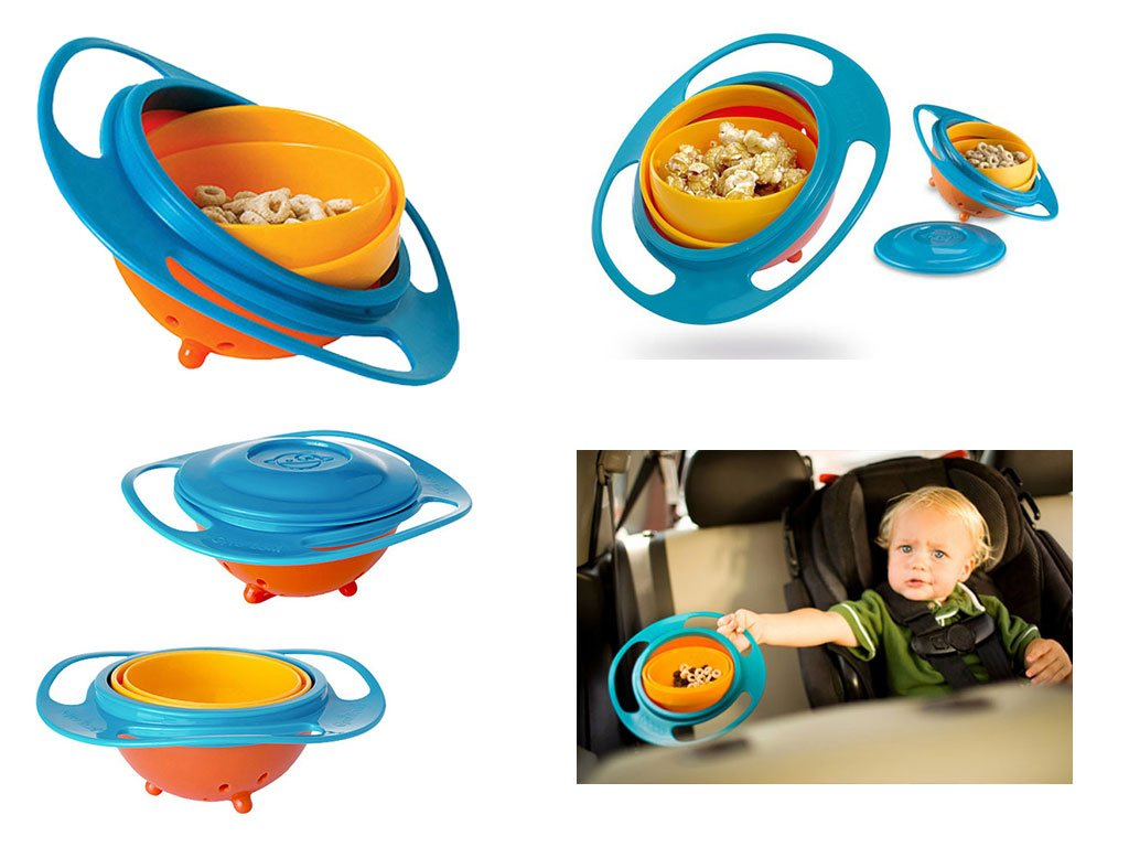 Deals  360 Degrees Rotates Spill Proof & No Mess Gyro Bowl