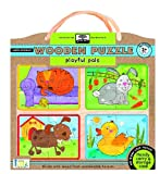 green start wooden-puzzles - playful pals: Earth Friend Puzzles with Handy Carry & Storage Case