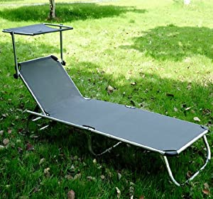 chaise longue transat bain de soleil pliant avec pare soleil en aluminium gris neuf. Black Bedroom Furniture Sets. Home Design Ideas