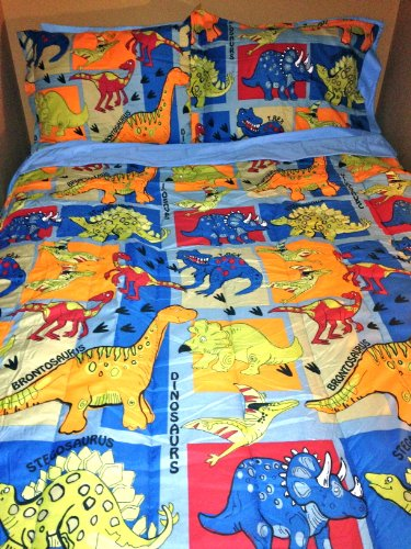 Lowest Price! Boys DINOSAUR 5 pc Bedding in a Bag Reversible TWIN DINO Comforter (1), Sham (1), &...