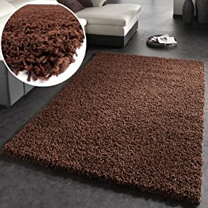 Shaggy Rug High Pile Long Pile Modern Carpet Uni Brown from PHC