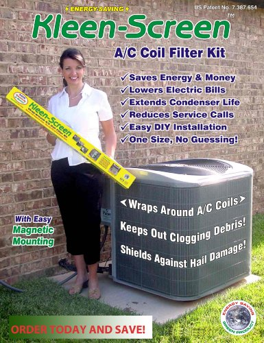 Air Conditioner Protector Filter Screen - Condensor Maintenance Helps to Protect from Leaves, Animal Hair, and Grass Clippings - Saves on Maintenance - 100% Money Back Guarantee - Cynergy Kleen Screen (Condenser Unit Cover compare prices)
