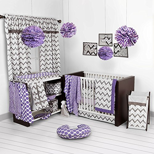 Bacati Ikat Lilac/grey Dots/leopard 4 Crib Set with 2 Muslin Blankets