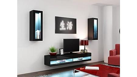 BMF Vigo neue XI Wohnwand Schrankwand in Hochglanz TV Rack TV Schrank-Schwarz und weiß, Farbkombinationen Black ONLY