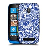 Head Case Designs Floral Dazzling Blue Pattern Back Case For Nokia Lumia 610
