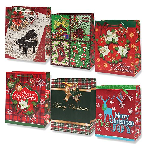 12-pack Assorted Christmas Gift Bags; (Medium)