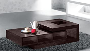 Armen Living Modern Coffee Table In Wenge Oak Veneer, Open Pore Texture