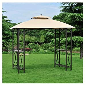 Amazon.com : Steel Outdoor Grill Gazebo Pavilion w/ Fabric Shade