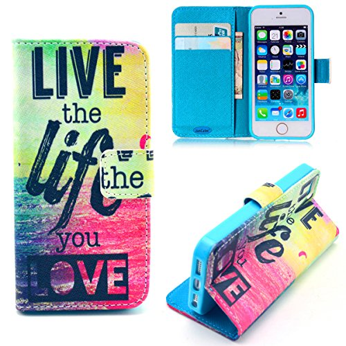 iPhone 5S Case,iPhone 5 Case,JanCalm [Kickstand] NEW Pattern Premium PU Leather Wallet [Card/Cash Slots] Protective Flip Case Cover for iPhone 5/5S *Including-ONE Crystal Pen (Live The Life You Love)