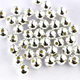 50pcs Genuine 925 Sterling Seamless Silver Round Ball Beads Spacer for Jewelry Making Findings (4mm) (Color: white, Tamaño: 4mm)