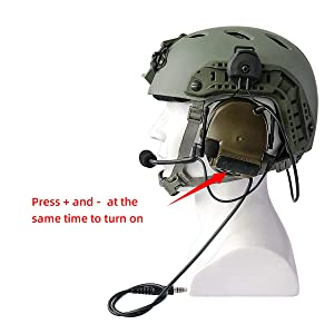 TAC-SKY Comta III Helmet Tactical Headset,Side Rail Airsoft Earmuffs with PTT and Microphone for Hunting (Army Green) (Color: Army Green)
