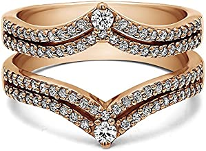 14k Gold Double Row Chevron Anniversary Ring Guard with Diamonds 053 ct twt
