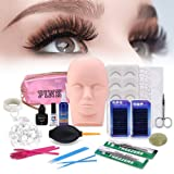 [Updated Version] 19pcs Eyelashes Extension Practice Exercise Set, TopDirect Professional Flat Mannequin Head False Eyelash Grafting Training Tool Kit for Makeup Practice Eye Lashes Graft (Tamaño: 19 pcs)
