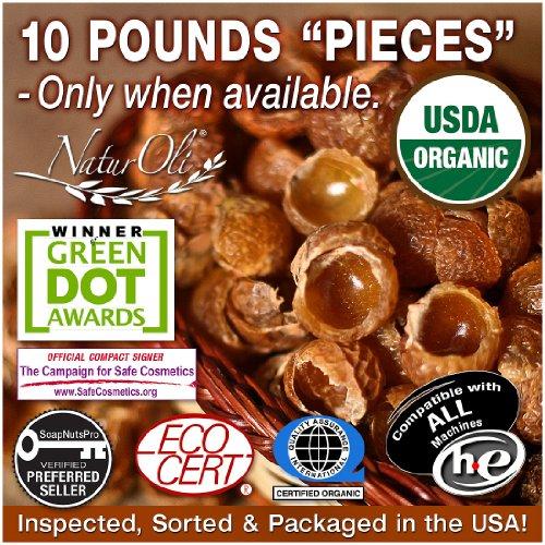 Sale!!! Naturoli Organic Soap Nuts / Soap Berries Pieces - Ten Pounds (2000+ Loads) - Seedless Usda Certified - Fresh Wild Harvest - Hypoallergenic, Non-Toxic