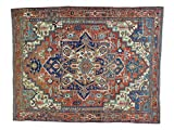 Antique Persian Serapi Good Cond Hand-Knotted Oriental Rug (9' x 11'3
