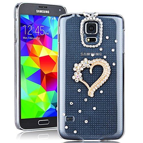 SMARTLEGEND Rigida Custodia per Samsung Galaxy S5, Bling Glitter Diamante PC Hard Case Cover Bumper, Ultra Sottile Trasparente Duro Durevole Protettiva Caso con Disegno Elegante - Amore