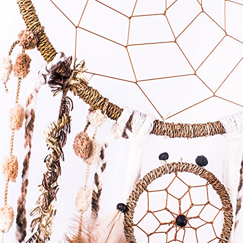 "Dream Catcher ~ Natural String Wool & Feathers, BOHO, Hippie, Bohemian Style 10.5"" x 36"" Long!"